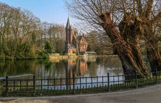 View on the lake Minnewater  in Bruges, Belgium